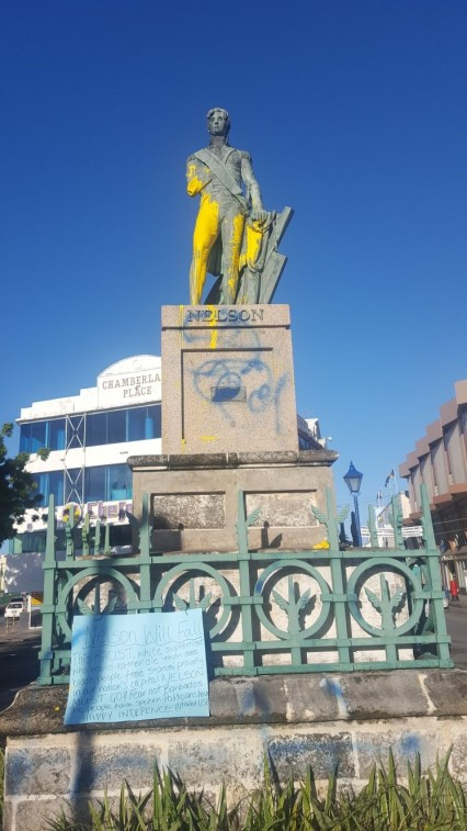 Nelson statue defaced on the eve of Independence Day.